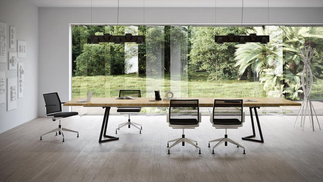 IGN MEET Tisch Konferenztisch, Tischgrösse flexibel, Massivholz oder HPL, Untergestell Stahl