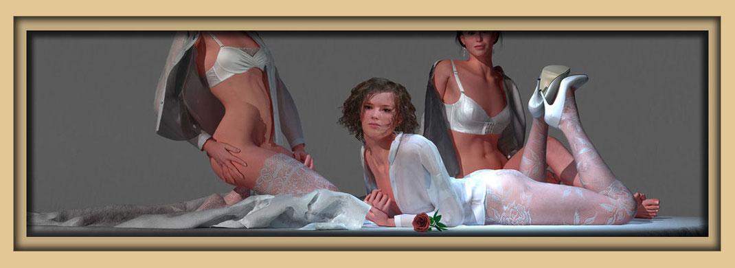 Akt mit drei Frauen in Dessous.  Feine Aktbilder auf der Aachener Kunstroute 2017 am 22., 23. und 24. September.