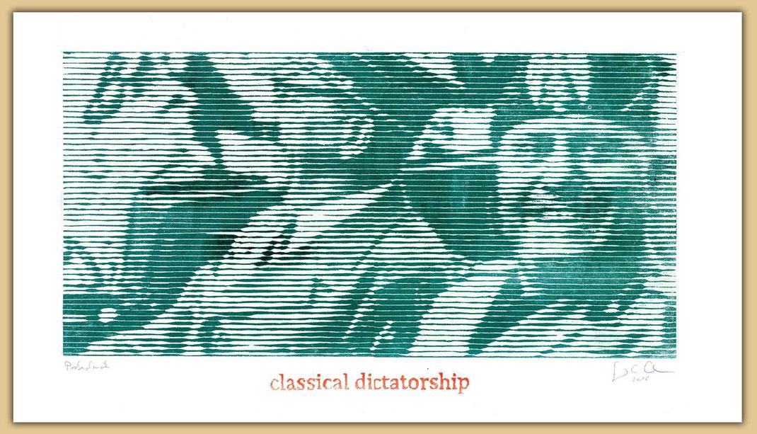 Grinsende Diktatoren als Holzschnitt des Künstlers  Guido Löhrer. Hitler und Mussolini auf der Aachener Kunstroute 2016 in der Galerie Frutti dell'Arte und in der Ausstellung Spektrum 2016 in der Aula Carolina