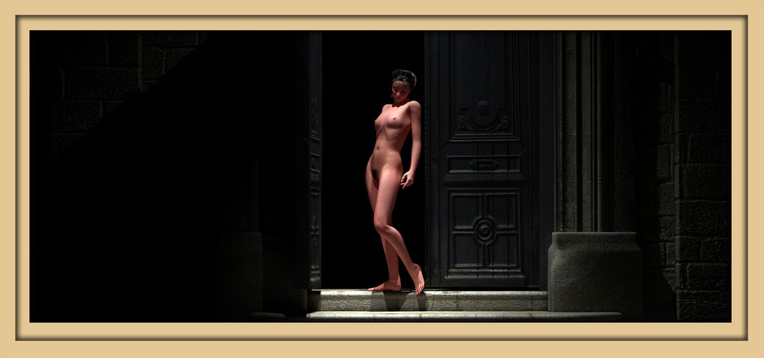 Auf der Aachener Kunstroute 2017 zu sehen, ein weiblicher Akt vor dunkler, schwerer, Holztür. Kunst in Aachen in der Galerie Frutti dell'Arte, am 22., 23 und 24. September während der Kunstroute in der Viktoriastrasse 24.