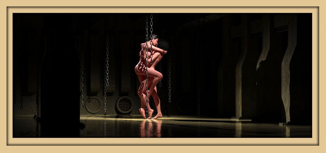 Akt lesbisch stehen zwichen Ketten. Der Künstler Marcus Löhrer zeigt in der Galerie Fruti dell'Arte neue Aktbilder während der Aachener Kunstroute 2017.
