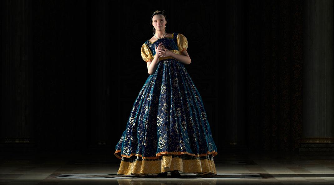 Bildnis der Artemisia dell'Arte in eine opulenten Renaisancekleid auf der Aachener Kunstroute 2019