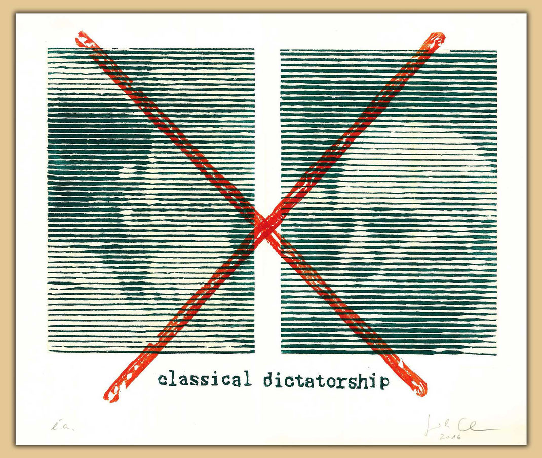 classical dictatorship, Hitler und Mousolini. Holzschnitte großer Diktatoren von Guido Löhrer auf der Aachener Kunstroute 2016.