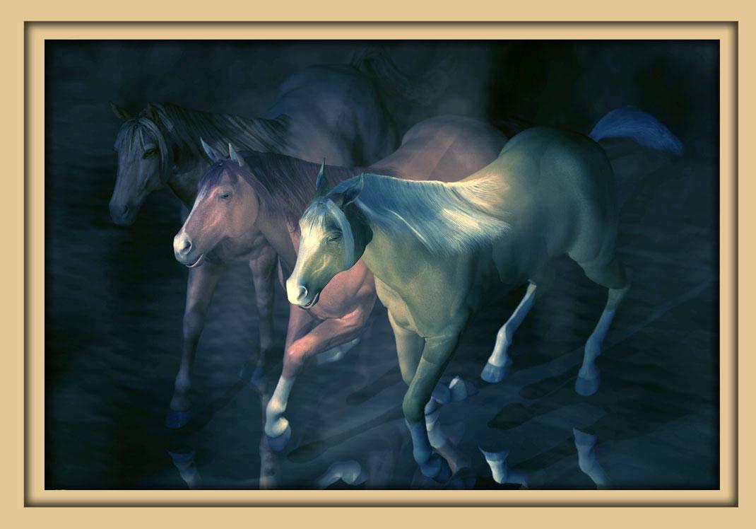 Drei blaue Pferde auf der Aachener Kunstroute 2016. Die Galerie Frutti dell'Arte zeigt Bilder des Aachener Künstlers Marcus Löhrer.