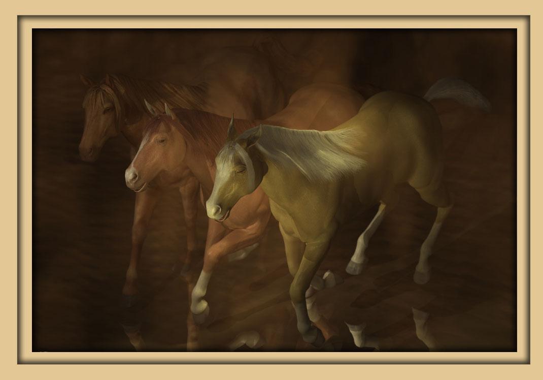 Drei Pferde auf der Aachener Kunstroute 2016. Die Galerie Frutti dell'Arte zeigt Bilder des Aachener Künstlers Marcus Löhrer.