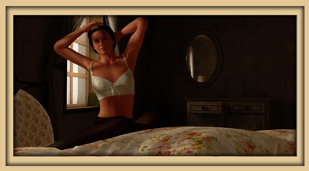 Romantisches Aktbild, Frau auf Bett vor Fenster, des Digital Art 3D Künstlers Marcus Löhrer auf der Aachener Kunstroute 2019