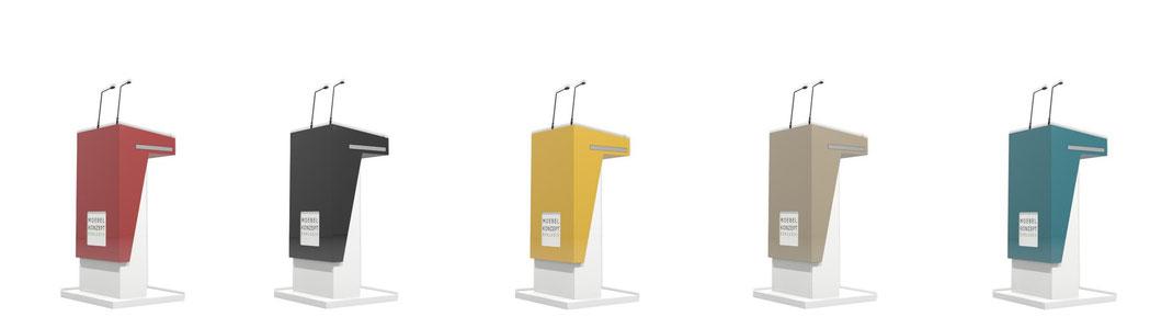 Dieses Bild zeigt ein elektrisch höhenverstellbares, ergonomisches Rednerpult