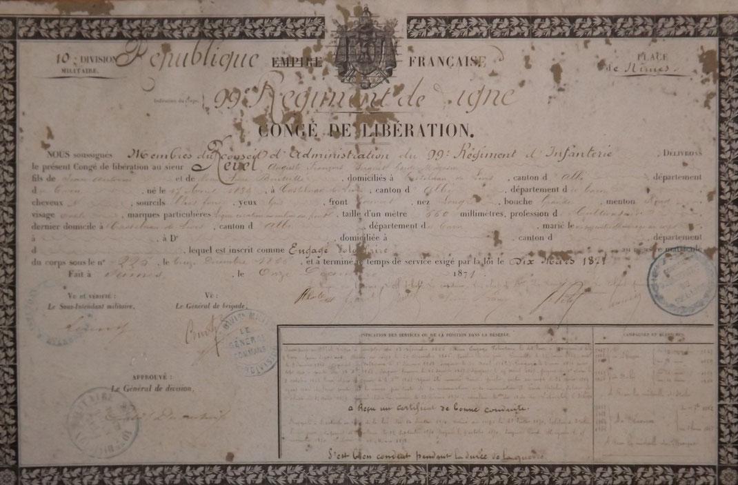 1871 Certificat de bonne conduite du sergent REVEL (Fonds J.M. Charmet)