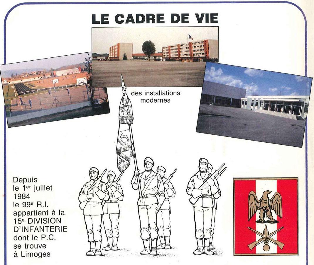 Vue du stade, de deux bâtiments de compagnies et du cinéma jouxtant le foyer du soldat