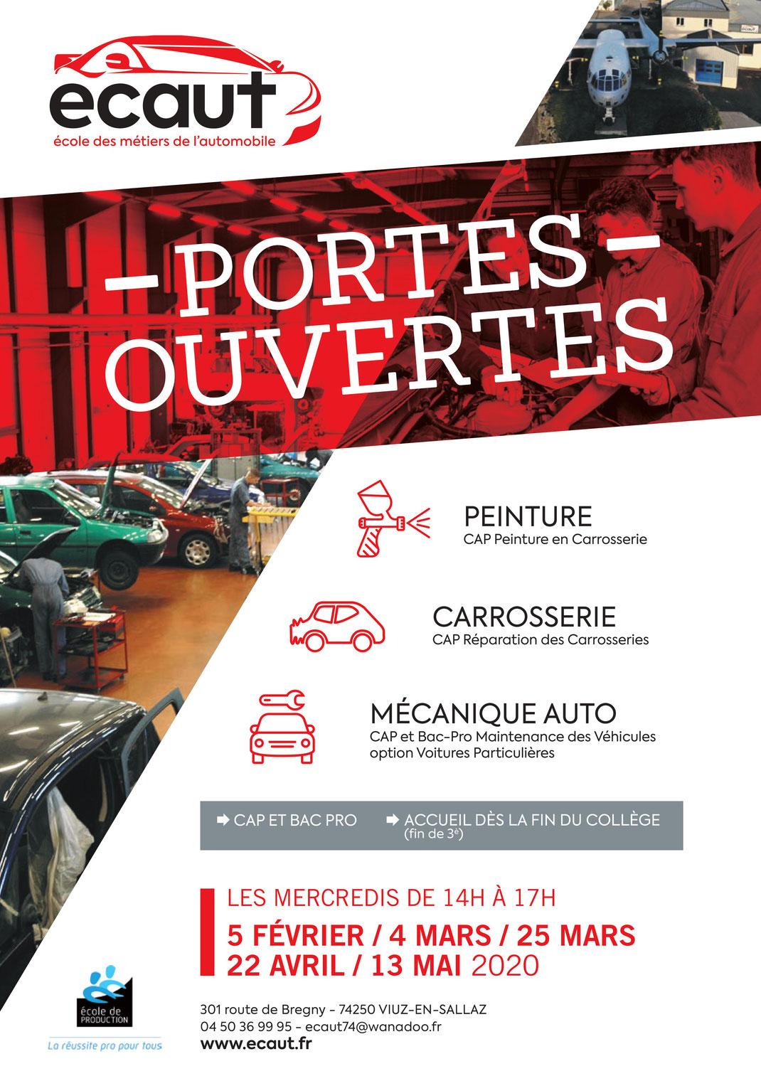 ECAUT - CAP | BAC PROFESSIONNEL  Portes ouvertes: Mercredi 25 Mars 2020 14:00-17:00  ECAUT - 301, route de Bregny - 74250 Viuz-en-Sallaz  04 50 36 99 95 | ecaut74@ecaut.com | https://www.ecaut.com/