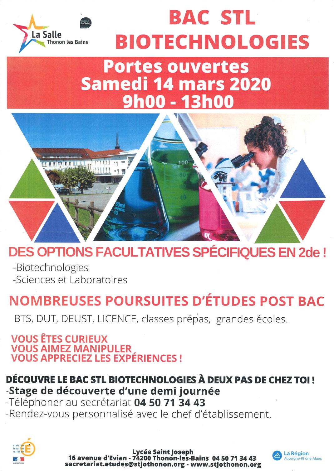 La Salle / Saint Joseph Thonon-les-Bains - BAC STL Biotechnologies - Portes ouvertes: Samedi 14 Mars 2020 09:00-13:00  Lycée Saint Joseph - 16 avenue d'Evian - 74200 Thonon-les-Bains  04 50 71 34 43 | secretariat.etudes@stjothonon.org | www.stjothonon.or