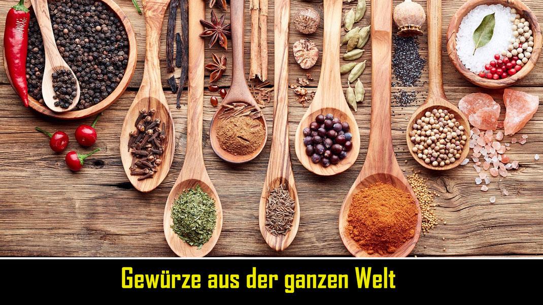Aromatishce Gewürze und exotisches Gemüse aus der ganzen Welt