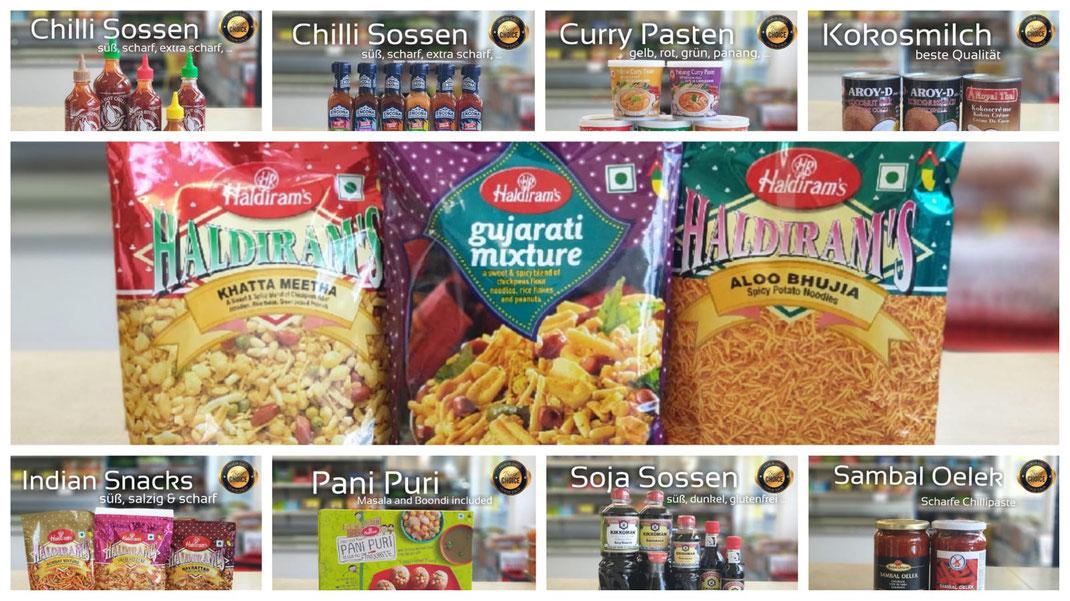Lebensmittel aus Indien, Asien, Thailand, arabische Lebensmittel und iranische Lebensmittel