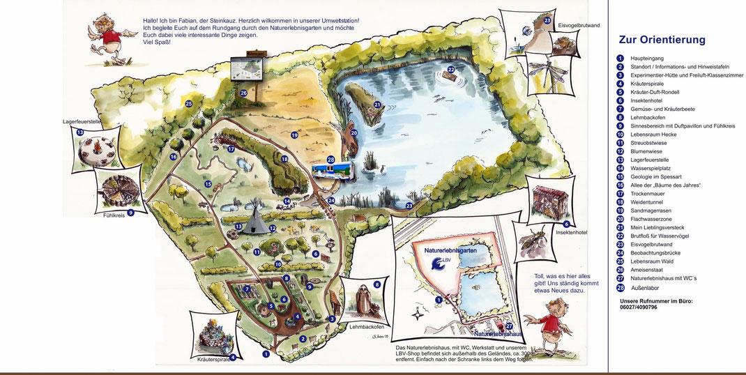 Übersichtsplan der Umweltstation Naturerlebnisgarten Kleinostheim