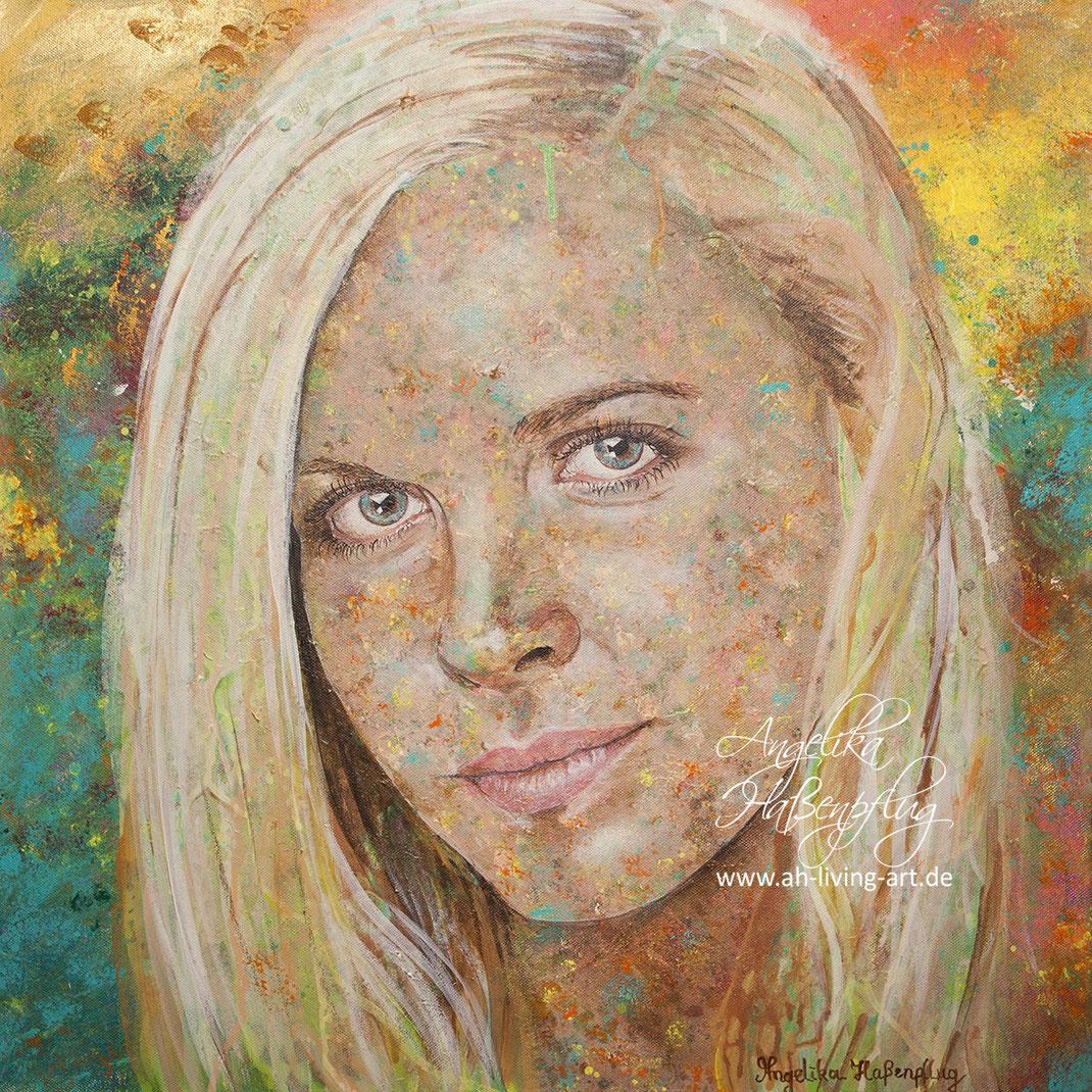 Abstrakt Portrait Portät, modern malerei, Künstlerin Angelika Haßenpflug, Living Art, Auftragsarbeit,