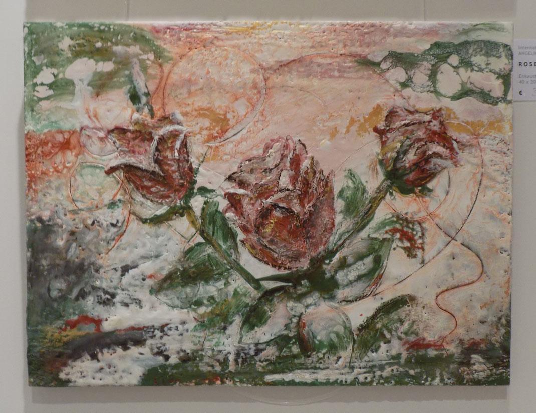 Wachsmalerei, Enkaustik, encaustic, Wachs, Blumen Rosen bunt, abstrakte kunst, Auftragsarbeit, Angelika Haßenpflug, living art, malen kunst