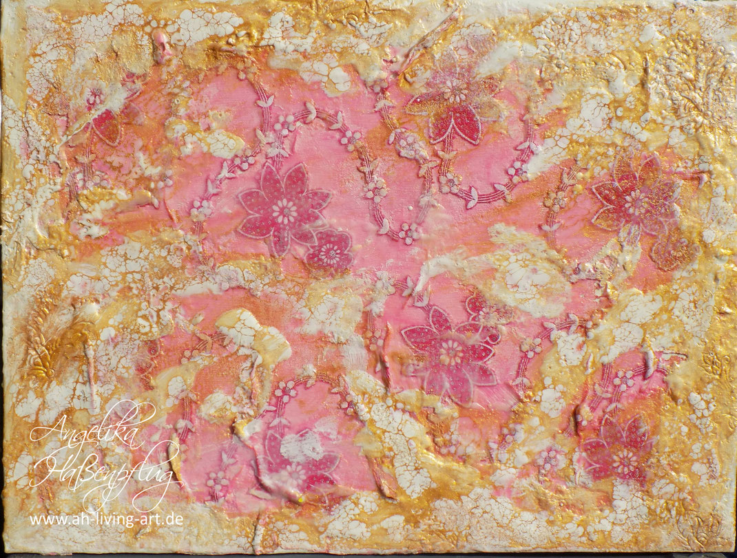 Wachsmalerei, Enkaustik, encaustic, Wachs, Meer, Blumen, gold , rose,  abstrakte kunst, Auftragsarbeit, Angelika Haßenpflug, living art, malen kunst