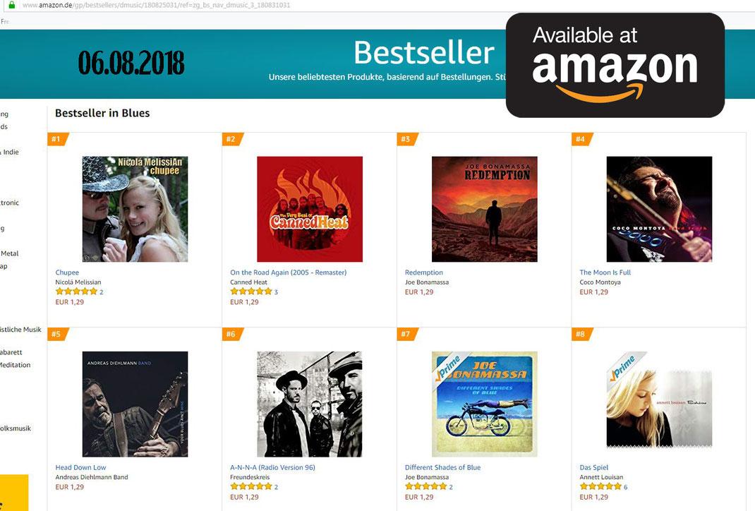 No.1 - amazon download Charts (Blues) - Nicolá MelissiAn - Chupee - 6.8.2018, Quelle: amazon