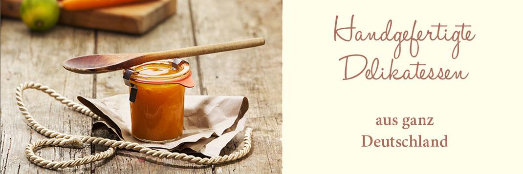 Banner Handgefertigte Delikatessen - Chutney mit Kochlöffel