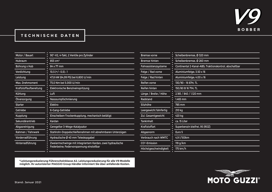 Moto Guzzi V9 Bobber Centenario 2021 - E5 Technische Daten