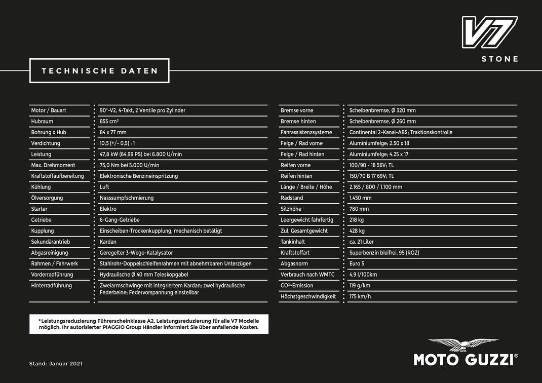 Moto Guzzi V7 Stone 2021 E5 Technische Daten