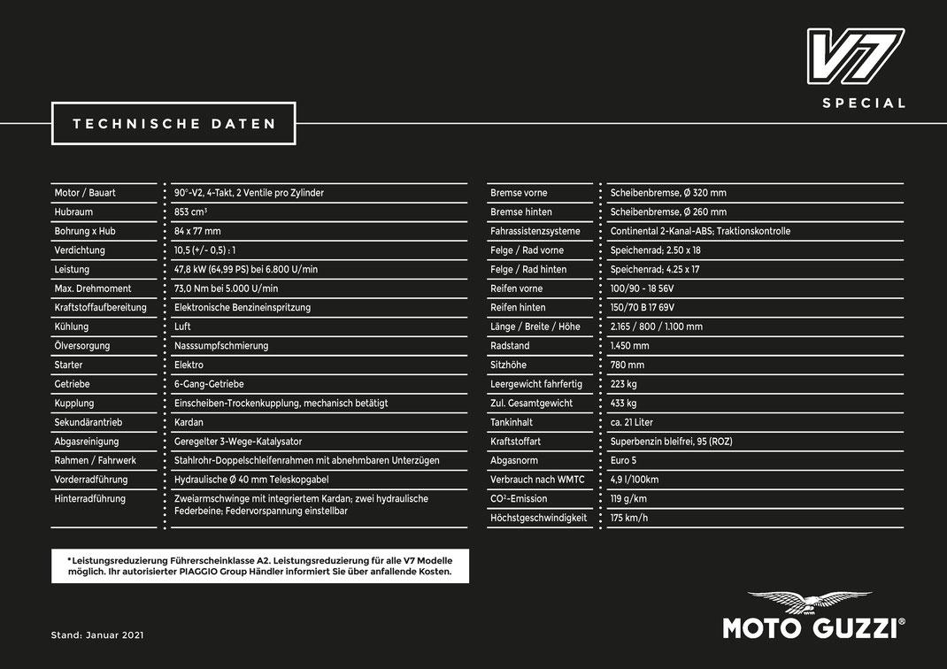 Moto Guzzi V7 Special Technische Daten 2021-01
