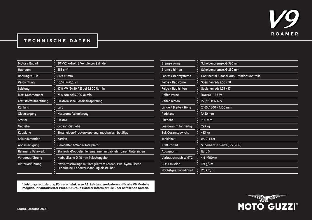 Moto Guzzi V9 Roamer Technische Daten 01-2021 - E5