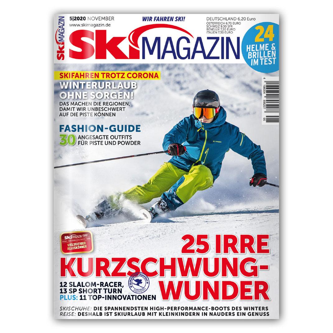 Berge im Licht cover shot auf dem Skimagazin November 2020