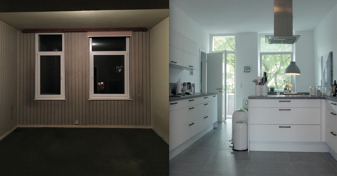 Bauunternehmen-Kernsanierer-Modernisierung-Umbau-Vorhernachher-Schlafzimmer-wird-Küche