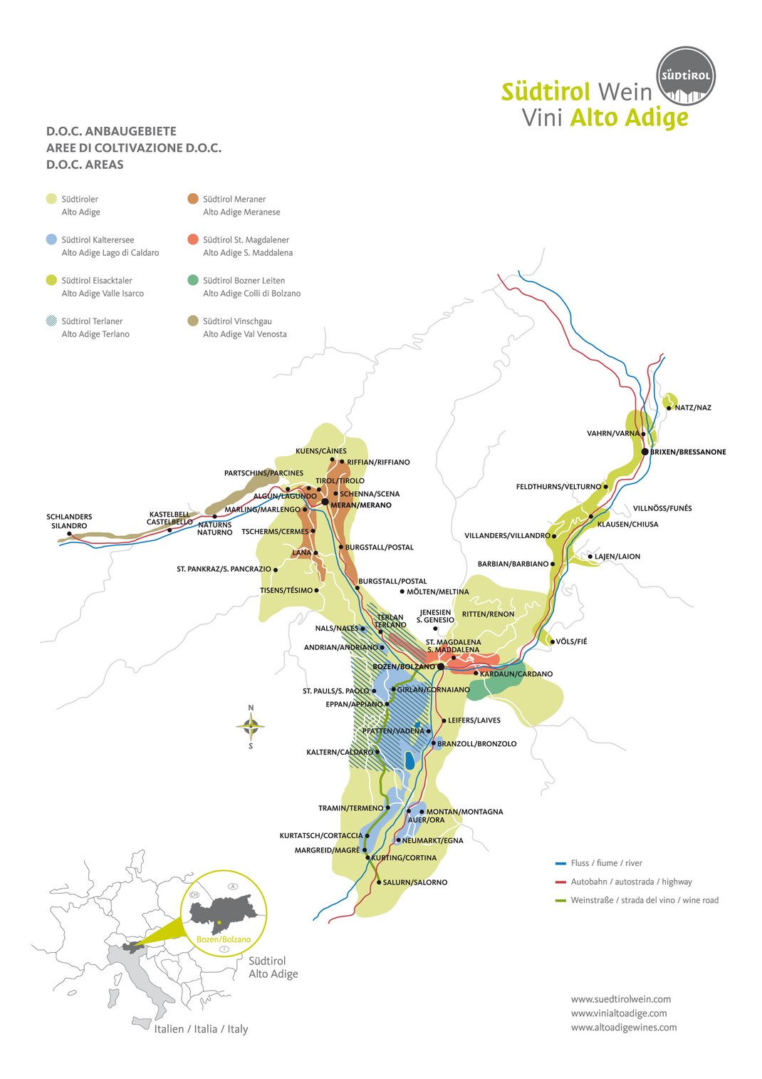 Weinkarte Südtirol Anbaugebiet DOC