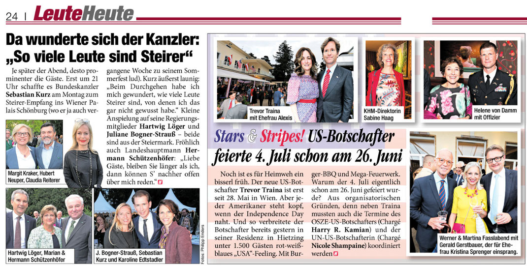 """Tageszeitung HEUTE, Ausgabe vom 27.6.2018, 2 Fotoreportagen """"Steirerfest"""", """"US-Botschaft"""""""