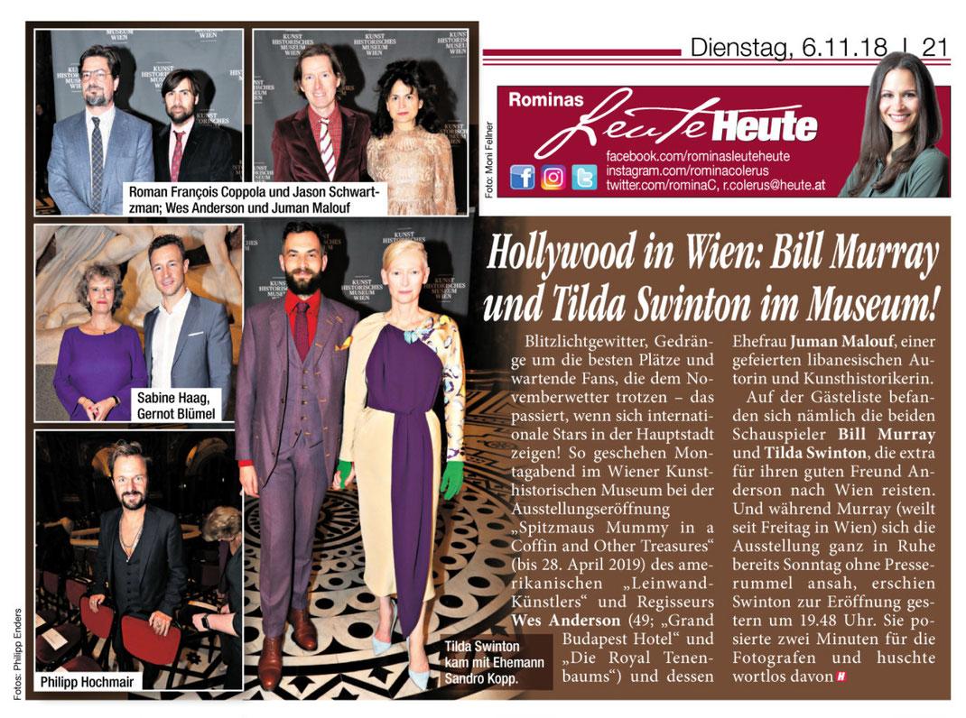 """Tageszeitung HEUTE, Ausgabe vom 6.11.2018 """"Hollywood in Wien..."""""""