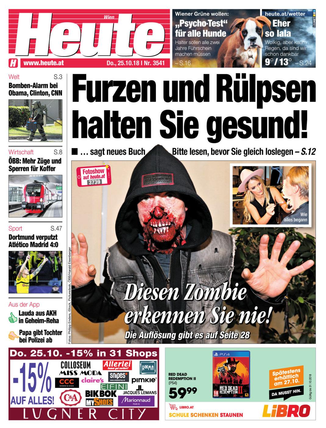 """Tageszeitung HEUTE, Ausgabe vom 25.10.2018, Titelstory """"Halloween Maske"""""""