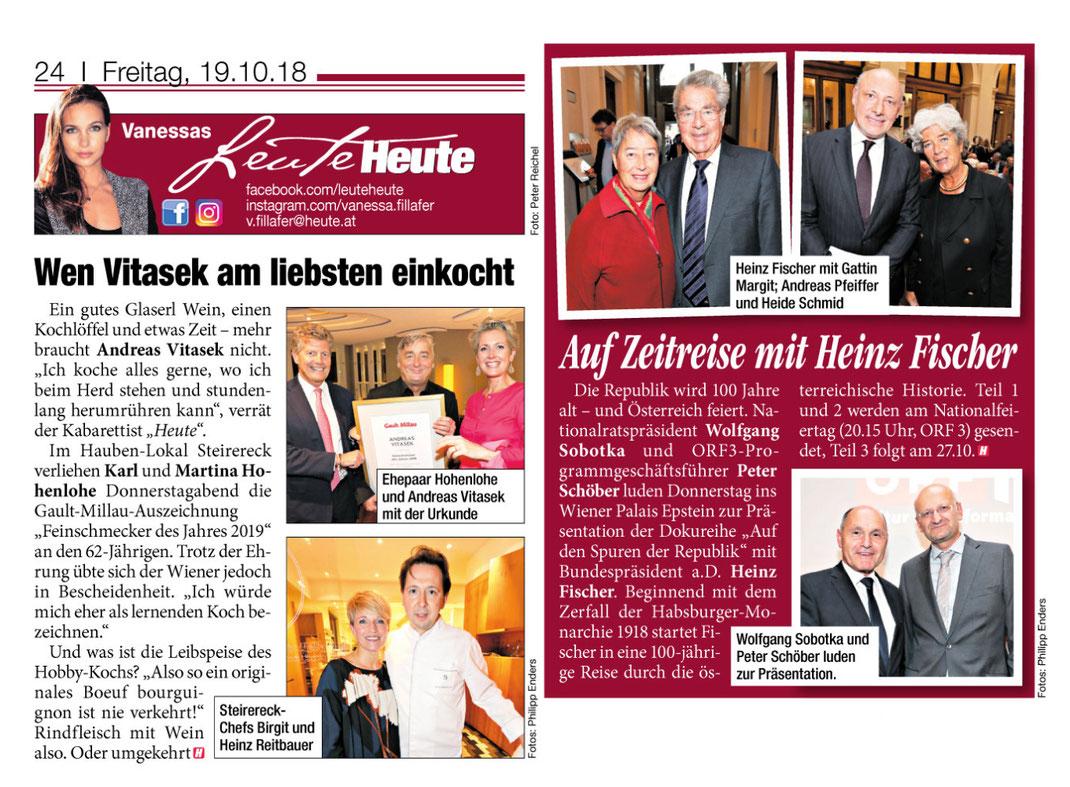 Tageszeitung HEUTE, Ausgabe vom 19.10.2018, 2 Fotoreportagen