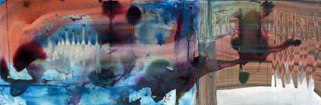 Landschaft, abstrakt, Zeichentusche, Malerei, Kunstwerk, lila, blau, Längsformat, braun, Kunstsammlung, Kunstsammler, Künstlerin, Hamburg, Regen, zart, elegant