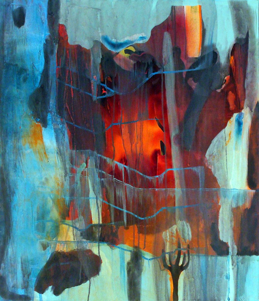 Feuer, Eis, orange, blau, türkis, hellblau, abstrakt, feurig, Elemente, Wüste, kräftig, lebendig, Bildverkauf, Kunstsammler, Kunstsammlung, Kunst, Malerei, Künstlerin, Hamburg, Atelier, Galerie, Museum, Acryl, Zeichentusche, abstrakt, gegenstandslos