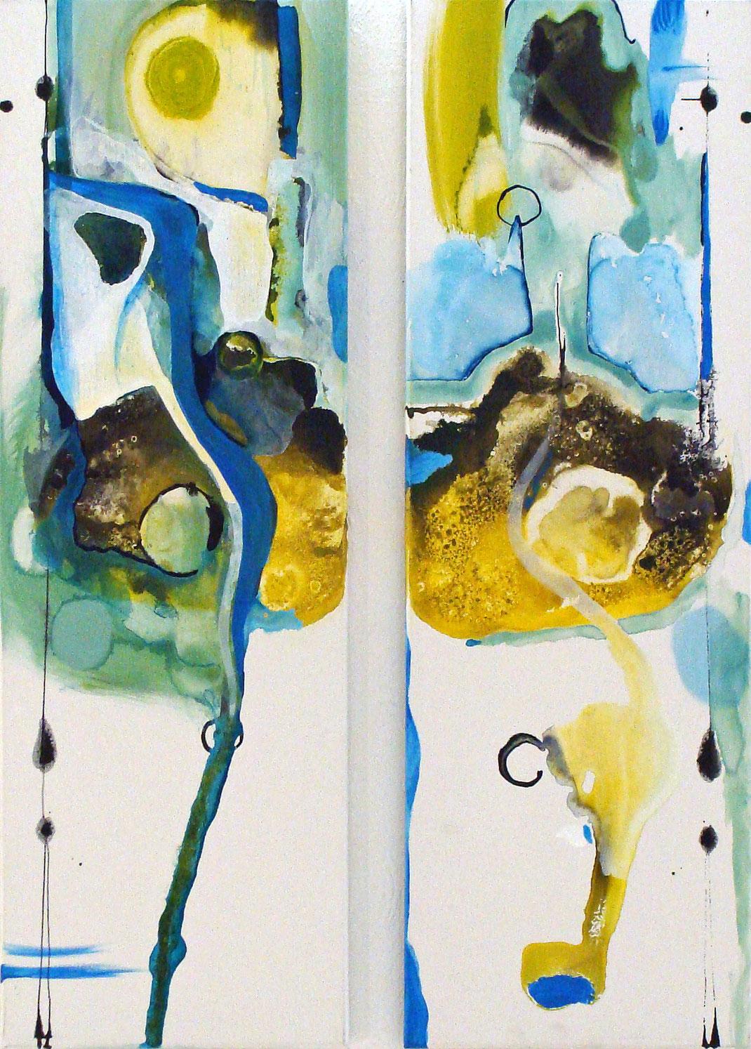 Diptychon, Zeichentusche, grüngelb, blau, abstrakt, elegant, Kunstsammlung, Kunstsammler, Hamburg, Künstlerin, Kunst
