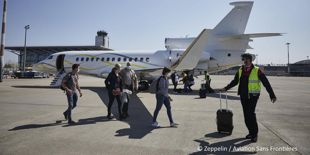 Le Falcon 7X mis à disposition par Dassault Aviation le 7 avril 2020 à l'EuroAirport de Bâle-Mulhouse.