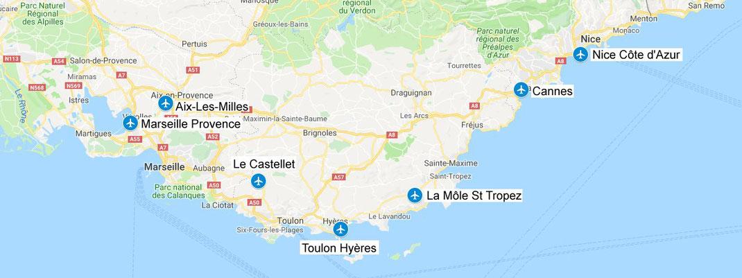 Les aéroports de la Côte d'Azur : Nice, Cannes, La Môle St Tropez, Toulon Hyères et Le Castellet