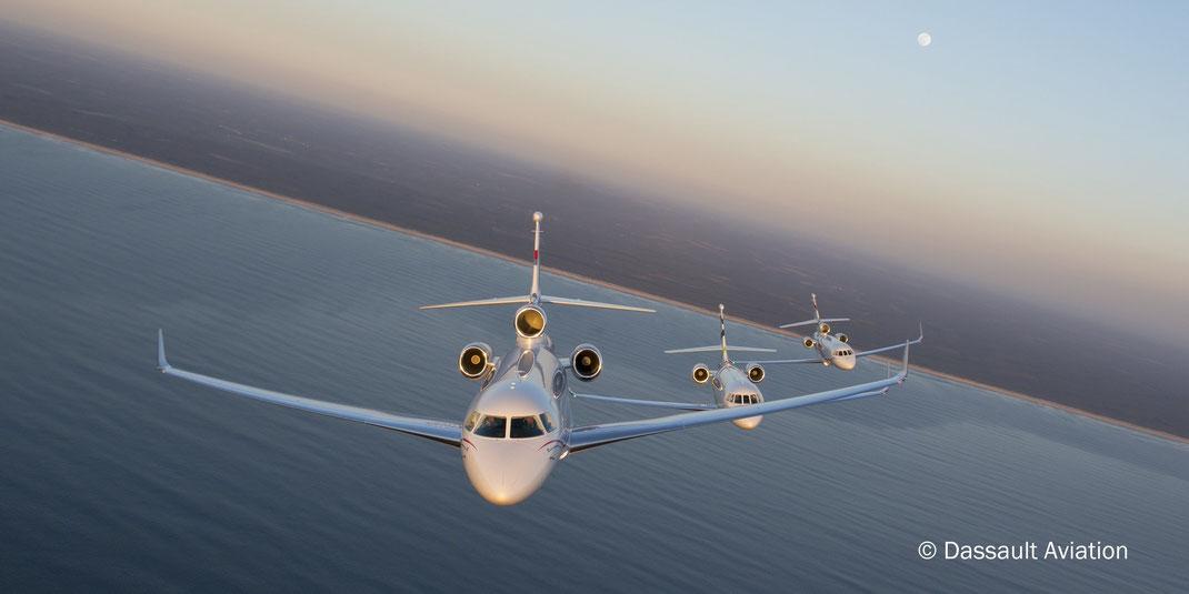 Les Falcon 7X, 2000 et 900 de Dassault Aviation sont produits en France.