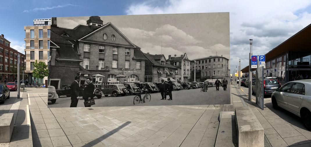 Der Bahnhofsplatz - In den 30ern und Heute
