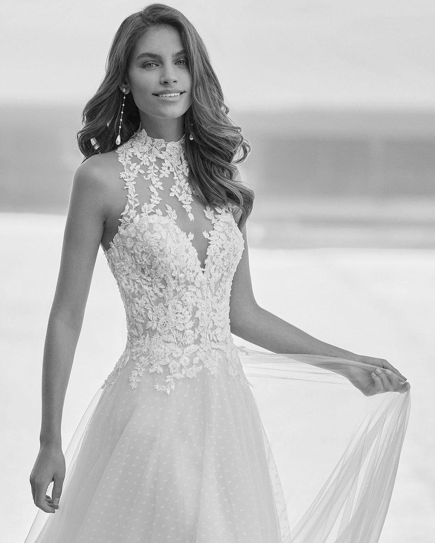 Brautkleid Gante aus der Rosa Clará Soft Kollektion 2022 erhältlich bei Brautmoden Tegernsee