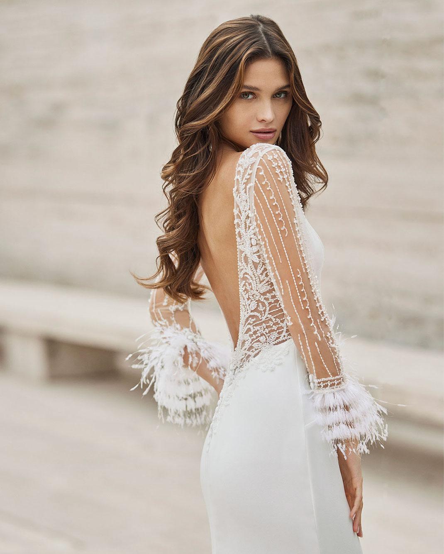 Brautkleid Nais aus der Rosa Clará Kollektion 2022 erhältlich bei Brautmoden Tegernsee