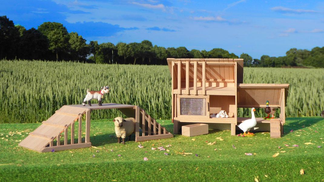 Kaninchenstall für Schleich & Ziegen Gehege
