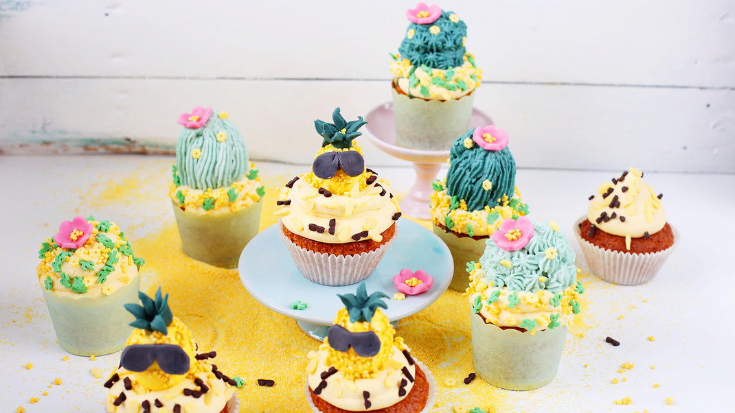 Cupcakes, Richie's Bakery, Backen, Dekorieren, Trend, Ananas, Kakteen, Hot, Summer, Party, Streudekor, Kaktus-Mix, Coolanas-Mix, Backen mit Liebe