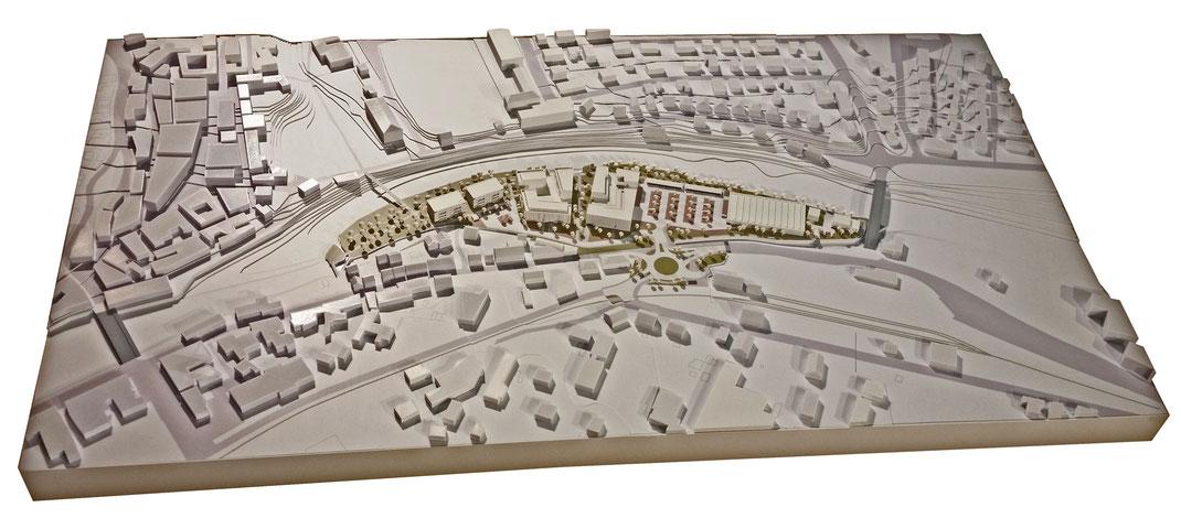 Ästhetisches Modell mittels moderner 3D-Drucktechnologie von der Firma ArchiKonstrukt aus Bretzfeld für den den Bebauungsplan 'Im Wörthgarten' in Gernsbach.