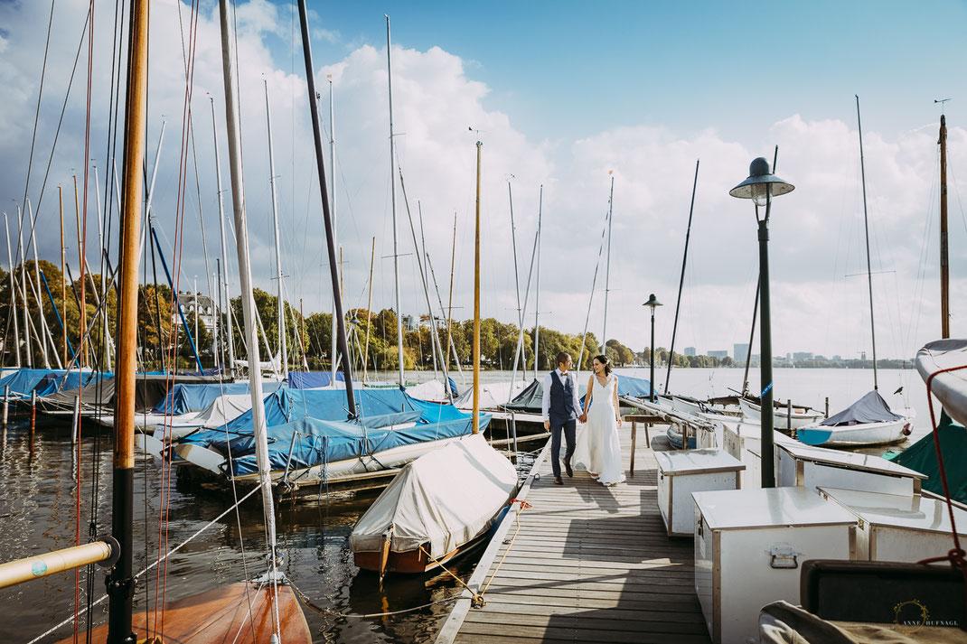 Hochzeitsfotograf Hamburg - Boote Alster Paarshooting / Anne Hufnagl