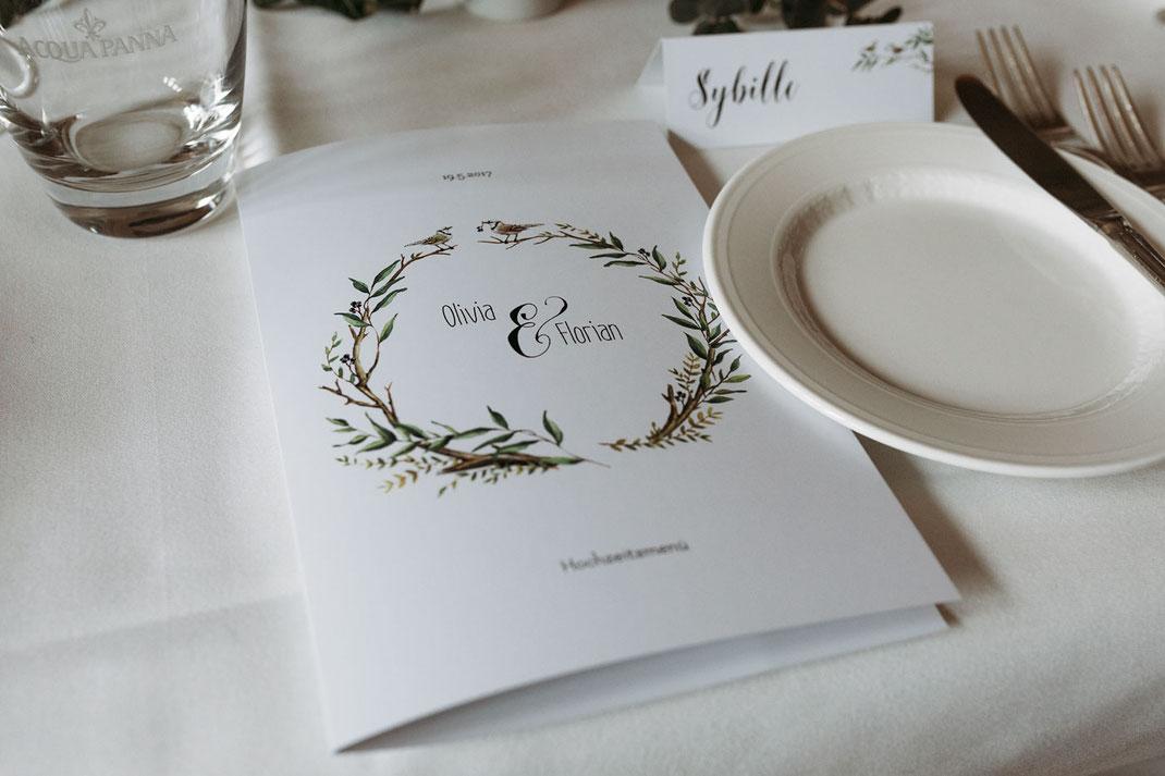 Menükarte Hochzeit Vintage
