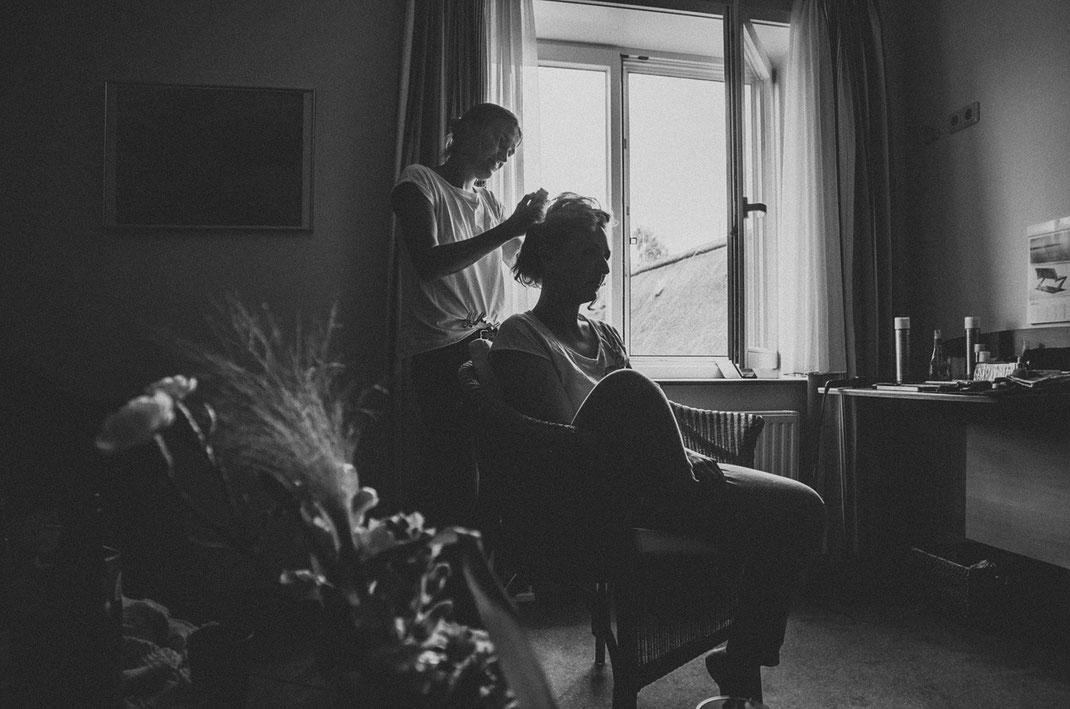 Brautstyling Schwarzweiß | Fotografin Anne Hufnagl