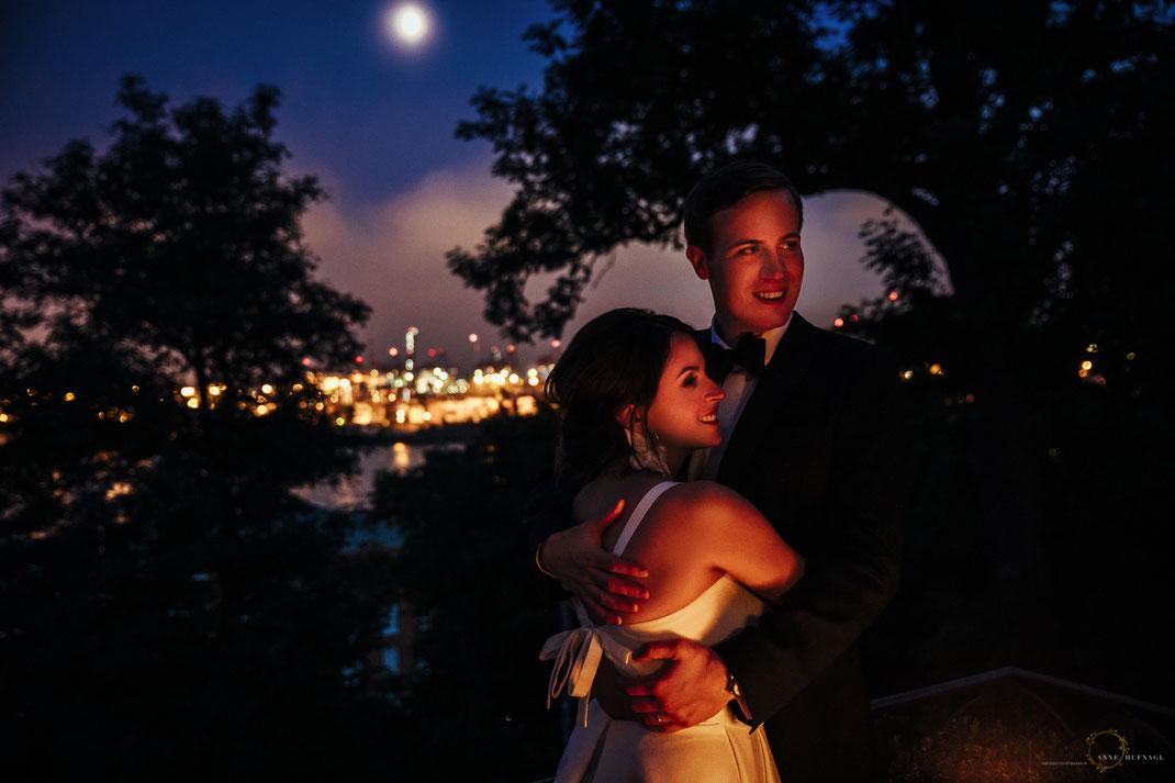 Hochzeit Terrasse Villa im Heinepark - Blick auf Hafen und Elbe / Fotografin: Anne Hufnagl